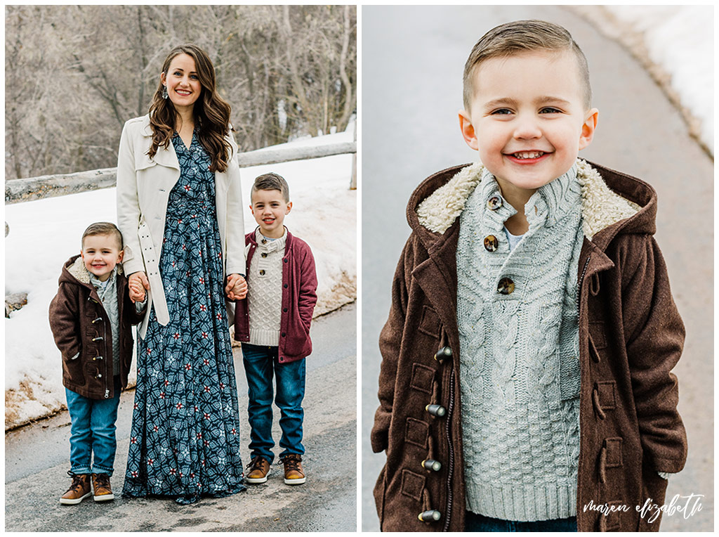Family pictures of a family of four at Big Springs Park in Provo Canyon in the snow shot by Maren Elizabeth Photography in March.   Arizona Family Photographer