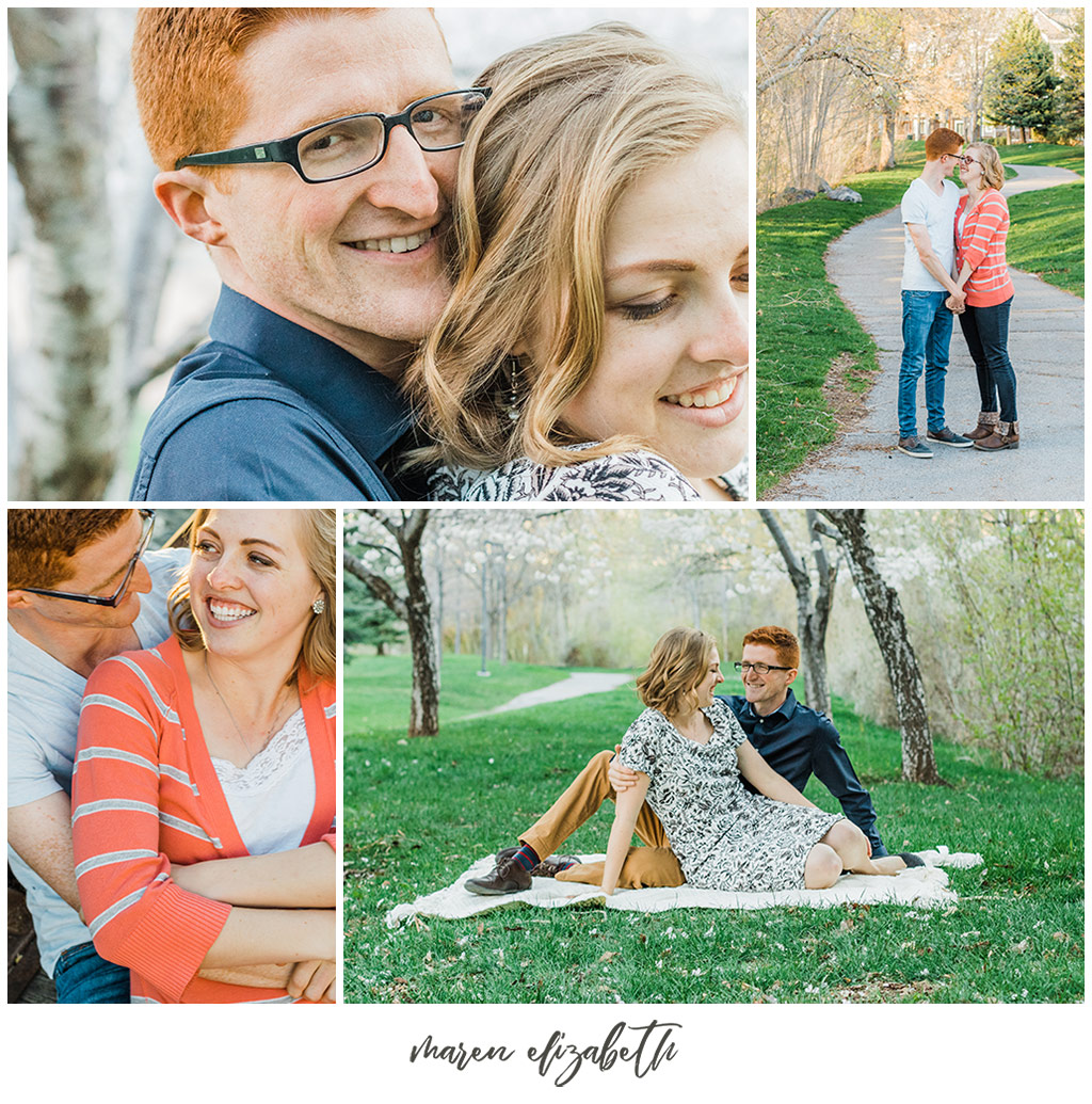 Provo river trail engagement pictures taken on the bridge behind the Riverwoods. It was the beginning of April and we got lucky and caught the blossoms without even trying! | Arizona Photographer | Maren Elizabeth Photography