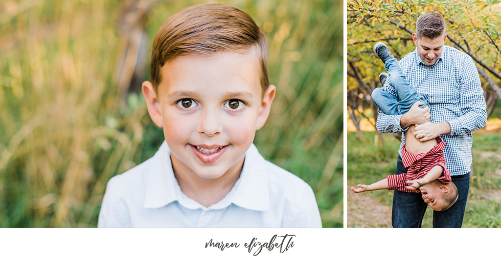Family of six family photos at Provo Orchard in the Fall. Arizona Family Photographer | Maren Elizabeth Photography.