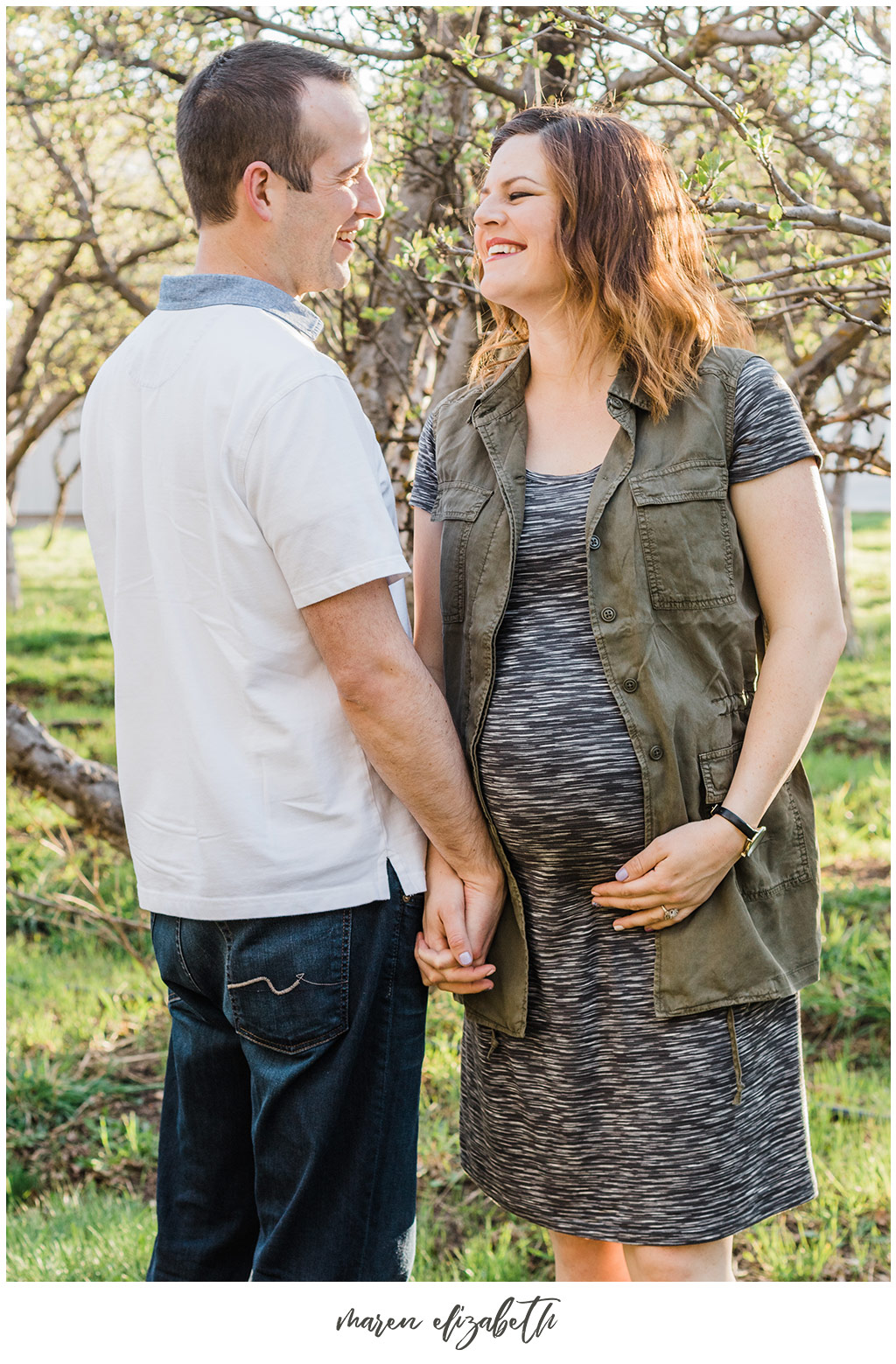 Family Pictures in a Spring Orchard. Maternity Family Pictures with Toddler   Arizona Family Photographer   Maren Elizabeth Photography