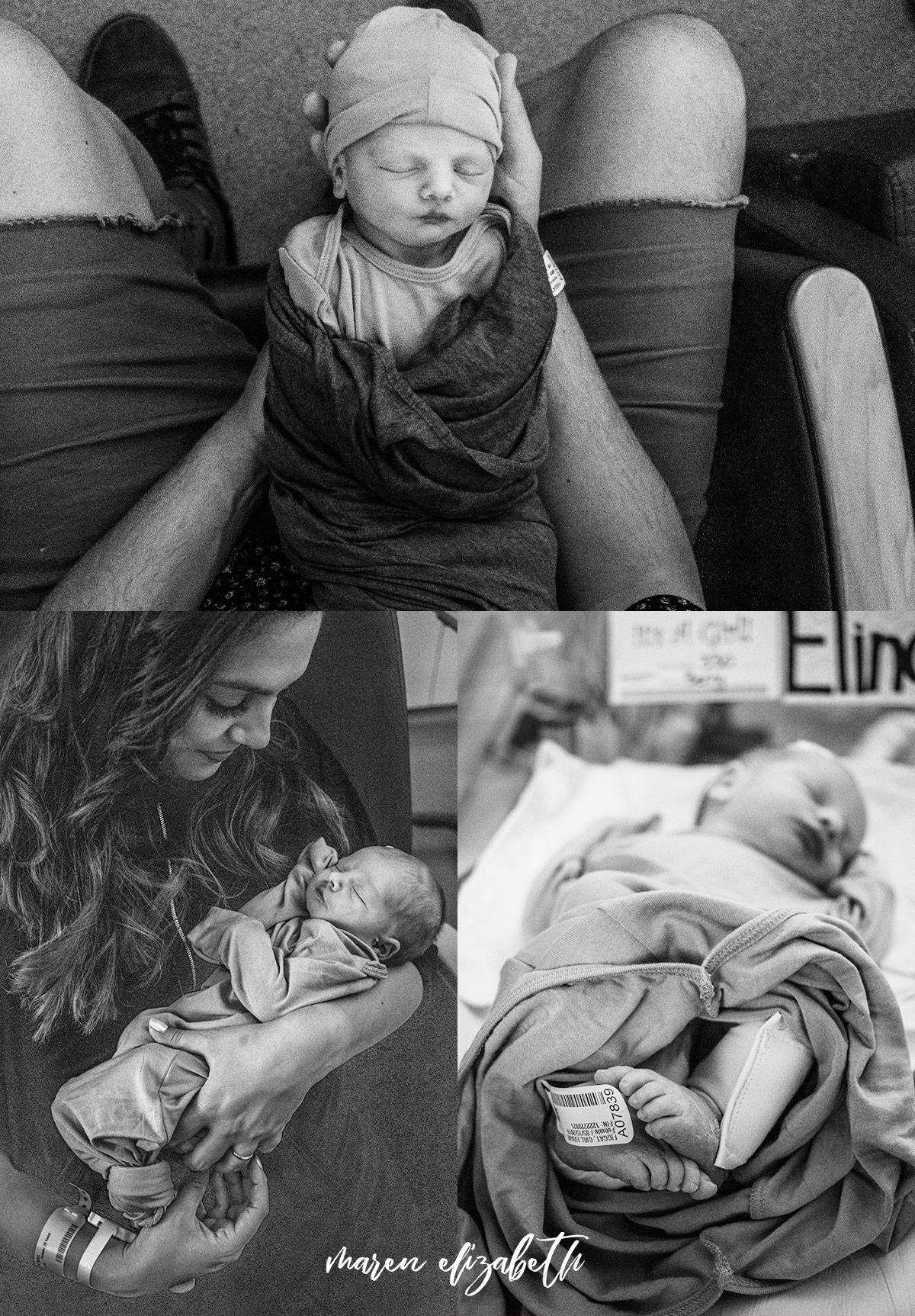 Family of four fresh 48 welcoming little Elinor at Utah Valley Hospital, Provo, UT   Maren Elizabeth Photography   Arizona Birth Photographer